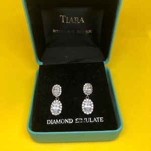 Tiara Jewelry - Tiara Sterling Silver Faux Diamond Bridal Earrings
